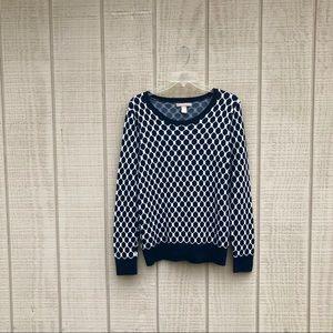 Banana Republic blue & white honeycomb sweater, M